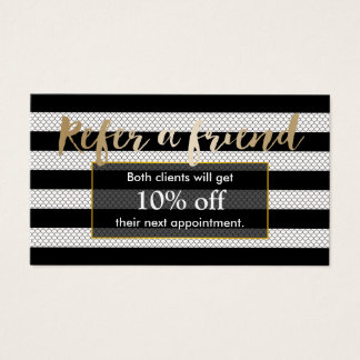 Referral Card | Modern Black & White Stripes