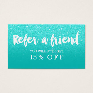 Referral card modern faux aqua glitter typography