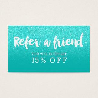Referral card modern faux aqua glitter typography
