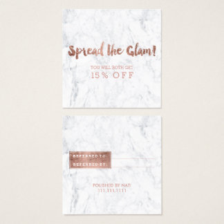Referral card modern rose gold typography marble 3