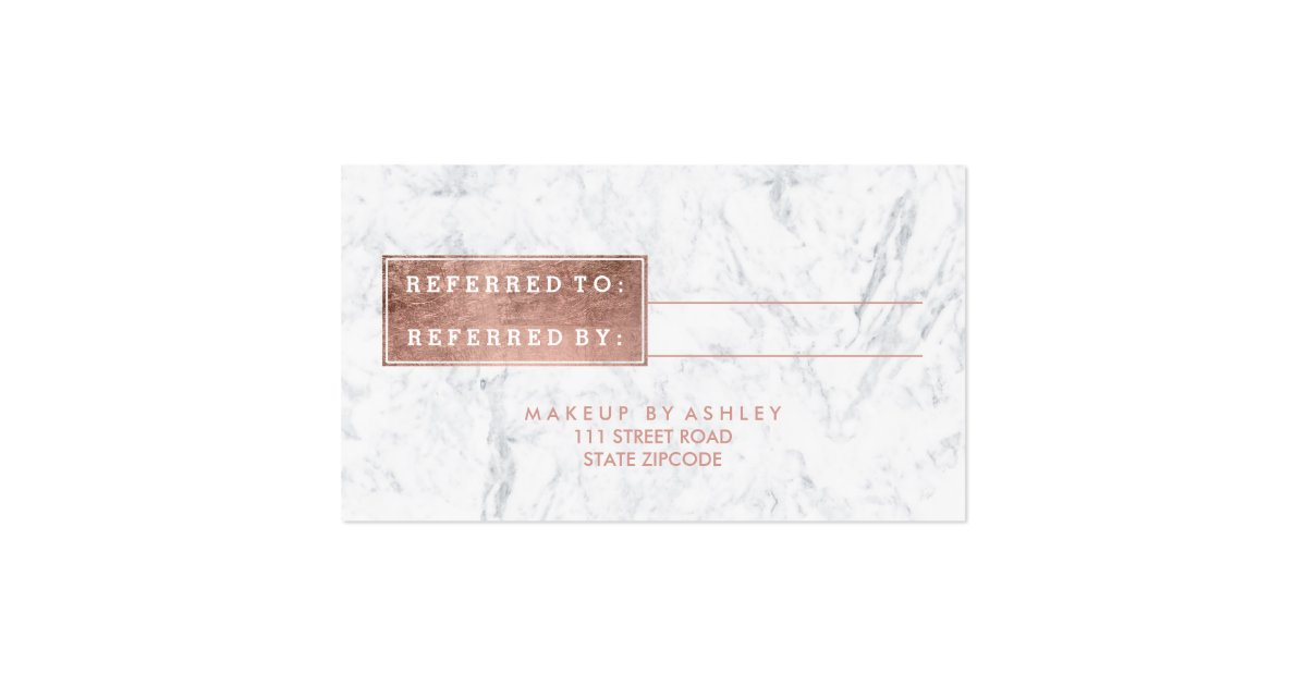 Referral card modern rose gold typography marble pack of for Zazzle referral cards