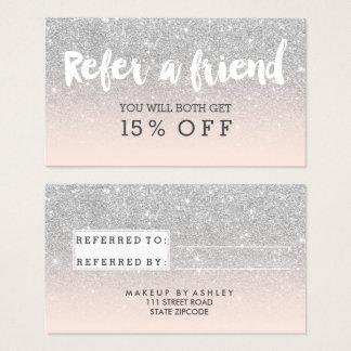 Referral card modern typography blush silver
