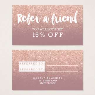 Referral card modern typography dusty rose gold