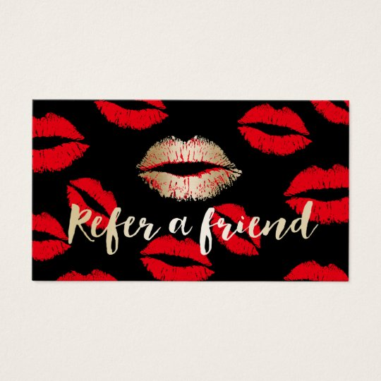 Referral Card | Red Lips Pattern Makeup Artist