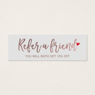 Referral Card | Rose Gold Script Beauty Salon