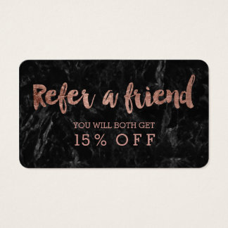 Referral card rose gold typography black marble