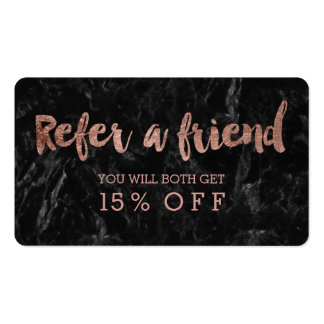 Referral card rose gold typography black marble pack of standard business cards