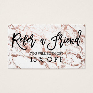 Referral card typography modern rose gold marble