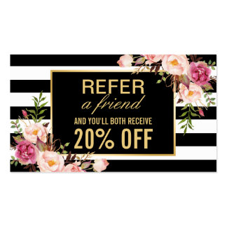 Referral Card Vintage Gold Floral Beauty Salon Pack Of Standard Business Cards