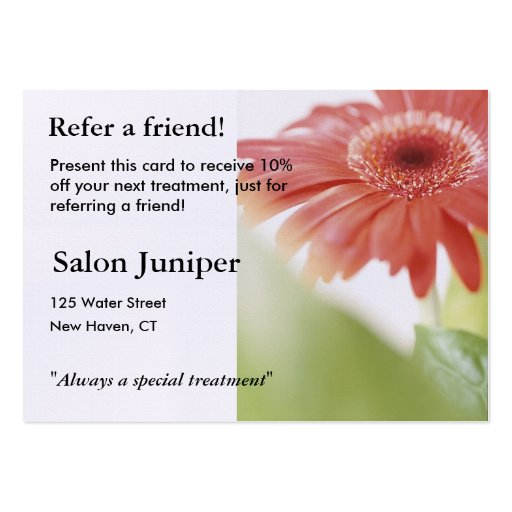 Referral Card with pink gerbera daisy Business Cards