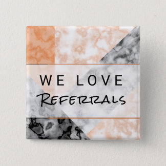 Referral Customer Loyalty Pink Marble Collage 15 Cm Square Badge