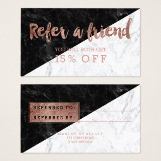 Referral modern rose gold typography block marble business card