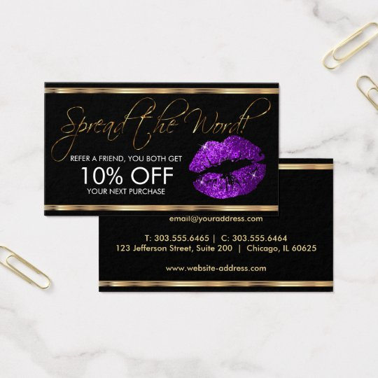 Referral - Purple Glitter Lipstick Business Business Card