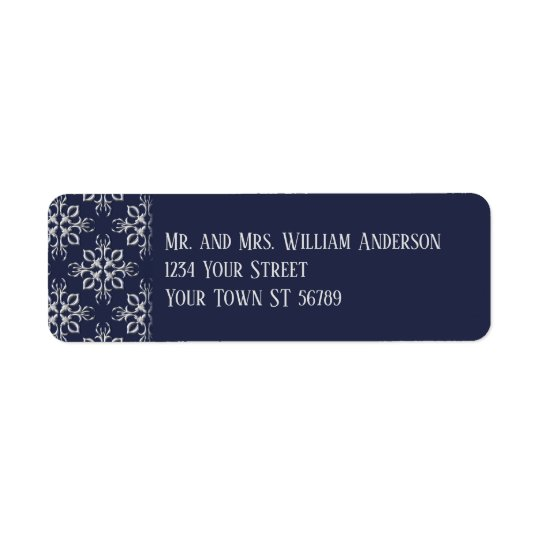 Refined Blue and Silver Grey Address Label