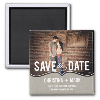 Refined Elegance Save The Date Magnet - Khaki