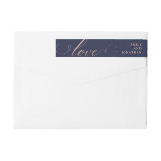 Refined | Faux Rose Gold Wedding Calligraphy Wrap Around Label