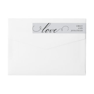 Refined | Wedding Calligraphy on Gray Wrap Around Label