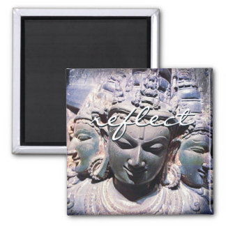 """Reflect"" Asian stone faces statue photo magnet"