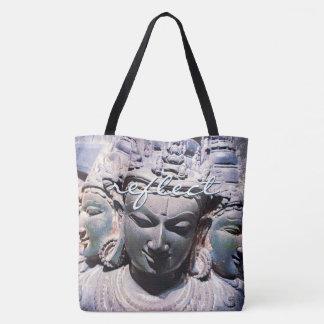 """Reflect"" quote Asian stone faces statue photo Tote Bag"