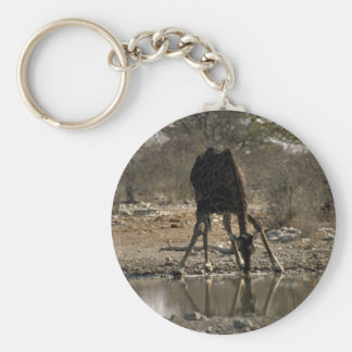 Reflected image of a drinking giraffe key chains