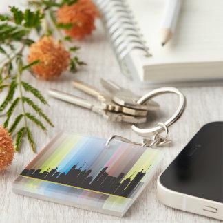 Reflected Rainbow Cityscape Single-Sided Square Acrylic Key Ring