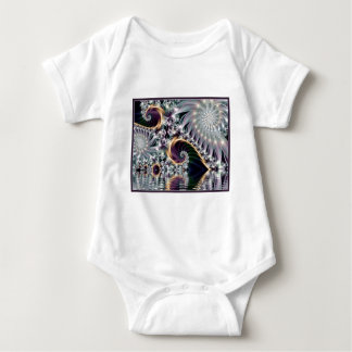 Reflected Silver Sprial Fractal Baby Bodysuit