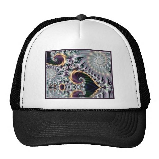 Reflected Silver Sprial Fractal Mesh Hats