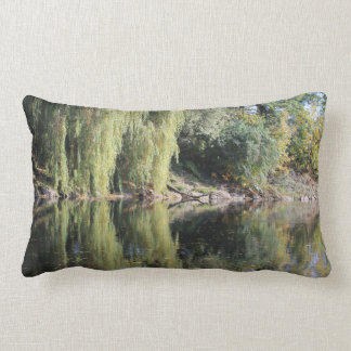 Reflected Willow Trees In River Lumbar Cushion