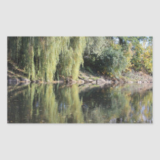 Reflected Willow Trees In River Rectangular Sticker