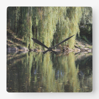 Reflected Willow Trees In River Wallclock