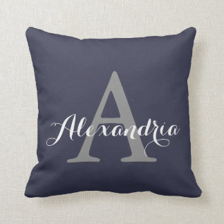 Reflecting Pond Deep Blue Solid Color Monogram Cushion