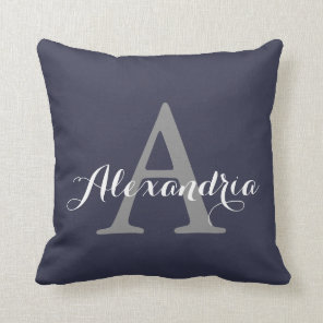 Reflecting Pond Deep Blue Solid Colour Monogram Cushion