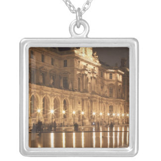 Reflecting pool at the Louvre, Paris, France Silver Plated Necklace