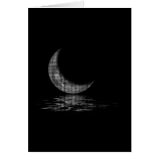 Reflection Crescent Moon Black & White Greeting Card