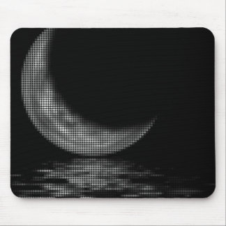 Reflection Crescent Moon Black & White Mouse Pad
