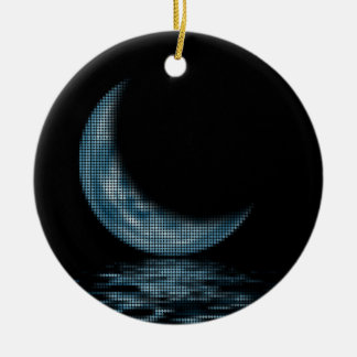 Reflection Crescent Moon On Lake Blue Christmas Ornament