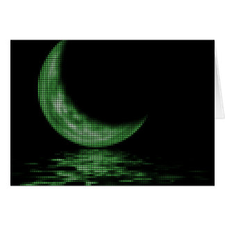 Reflection Crescent Moon On Lake Green Greeting Card