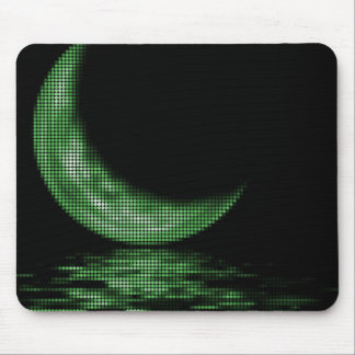 Reflection Crescent Moon On Lake Green Mouse Pads
