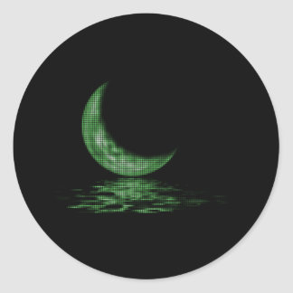 Reflection Crescent Moon On Lake Green Round Sticker