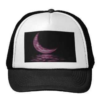 Reflection Crescent Moon On Lake Pink Trucker Hats