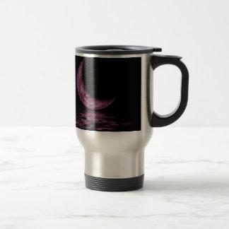 Reflection Crescent Moon On Lake Pink Coffee Mug
