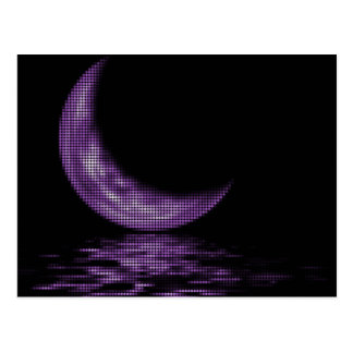 Reflection Crescent Moon On Lake Purple Postcard