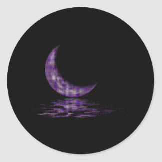 Reflection Crescent Moon On Lake Purple Round Sticker