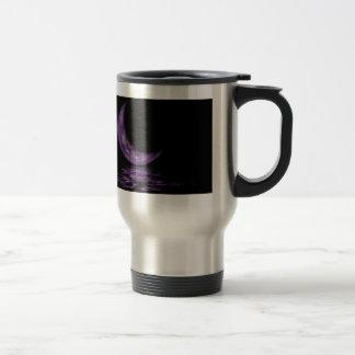 Reflection Crescent Moon On Lake Purple Stainless Steel Travel Mug
