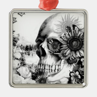 Reflection. Floral landscape skull. Christmas Ornament