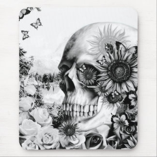 Reflection. Floral landscape skull. Mouse Mat