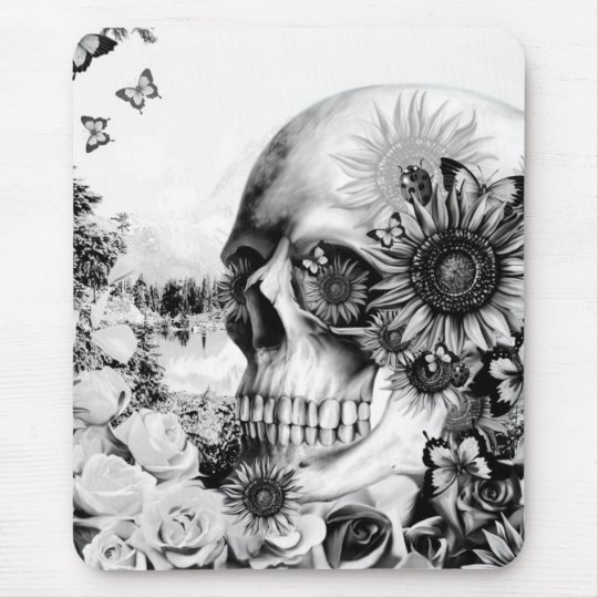 Reflection. Floral landscape skull. Mouse Pad