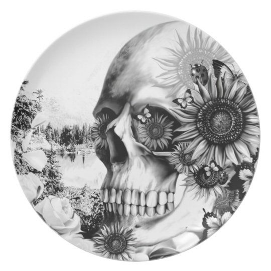 Reflection. Floral landscape skull. Plate