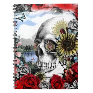 Reflection. Floral landscape skull. Spiral Notebook