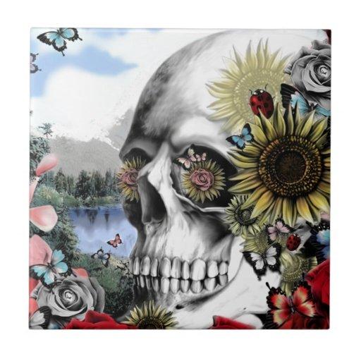 Reflection. Floral landscape skull. Tiles